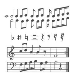 Music notes and icons set vector image