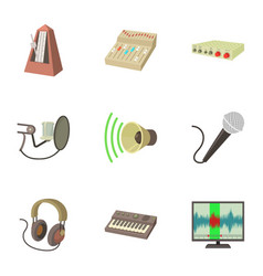 Music studio icons set cartoon style vector