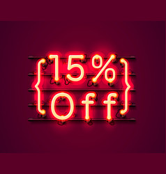 Neon frame 15 off text banner night sign board vector