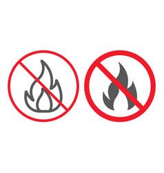 no fire line and glyph icon prohibition vector image