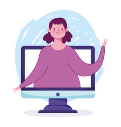 Online education student girl in video computer vector