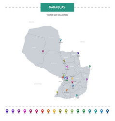 Paraguay map with location pointer marks vector