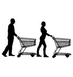 People pushing shopping carts vector image