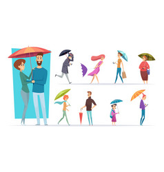 people with umbrella raining day walking adults vector image