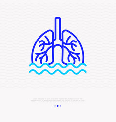 Phlegm sputum in lungs thin line icon vector