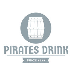 pirate barrel logo simple gray style vector image