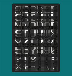 Pixel font with uppercase letters of latin vector