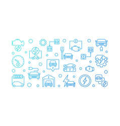 plug-in electric vehicle blue line vector image