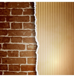 Ragged paper with a pattern of lines on brick wall vector image