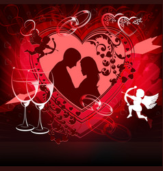 Red design with lovers vector