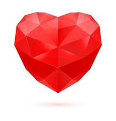 Red polygon heart vector image