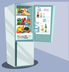 Refrigerator full of tasty food vector