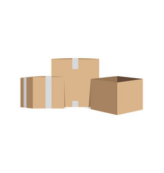 sealed and open cardboard boxes vector image