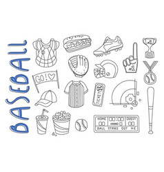 Set sport related icons in doodle style vector