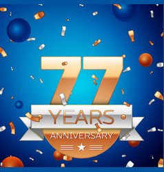 Seventy seven years anniversary celebration design vector
