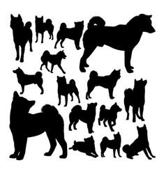 shiba inu dog animal silhouettes vector image