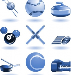 shiny sports icon set series vector image