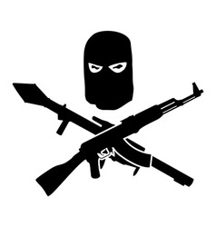 Silhouette of mans head wearing a mask and weapon vector