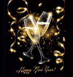 Sparkling glasses of champagne with gold vector