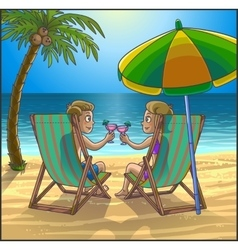 Summer relax leasure scene on the beach vector