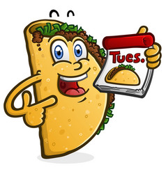 taco tuesday cartoon character vector image