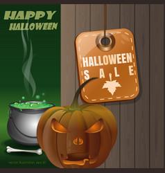 Tag - halloween sale with jack o lantern vector