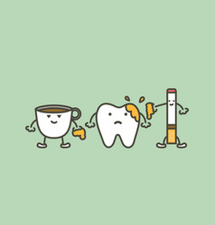 teeth are smudged from coffee and cigarette vector image