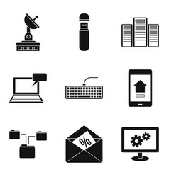Telecom icons set simple style vector