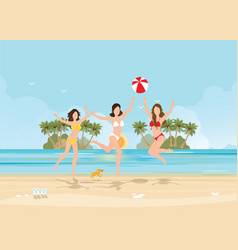 Three bikini woman jumping with ball on beautiful vector