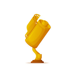 Trophy for cinema success movie award gold prize vector