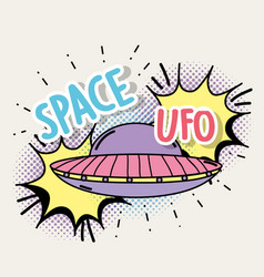 Ufo with chat bubble and space message vector
