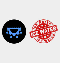 water gear drops icon and distress ice vector image