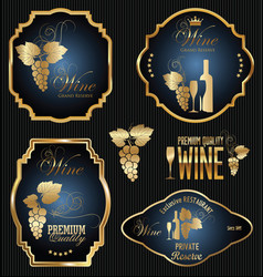 wine gold and blue labels collection vector image