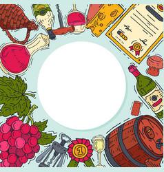 wine taste club round pattern vector image