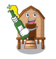 With beer chicken in a wooden cartoon coop vector
