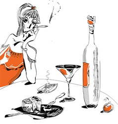 Woman and wine vector