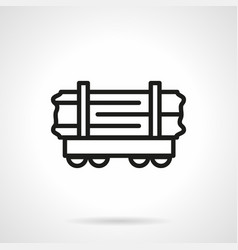 Wood rail-car simple line icon vector