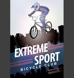 Words extreme sport and a cyclist on the bike vector