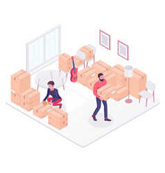 Young caucasian couple moving to a new house vector