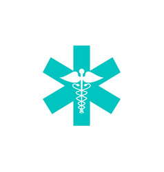 Caduceus solid icon medicine and health sign vector