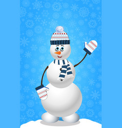 Christmas and new year card with snowman in vector