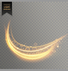 golden curve light streak transparent effect vector image