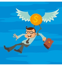 man and winged coin vector image