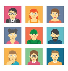 Set of cute character icons vector image