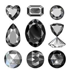 Set of greyscale black gems vector image vector image
