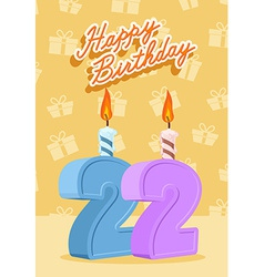 22 years celebration 22nd happy birthday vector image vector image