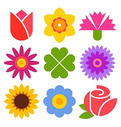 Colorful flower icon set vector image