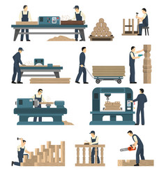 woodworking carpentry factory set vector image
