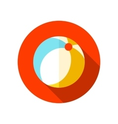 Beach ball flat icon with long shadow vector