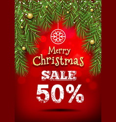 merry christmas banner sale design vector image vector image